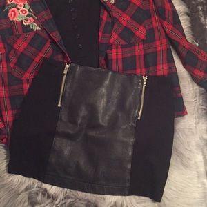 Guess black faux leather panel mini skirt